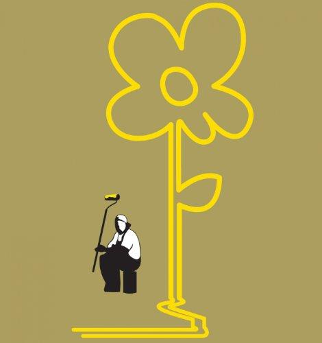 Gelbe Linien Blume Banksy Männer T-Shirt Präriestaub