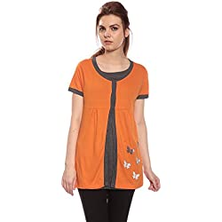 Goldstroms Maternity/Feeding/Nursing Tee with Hidden Zipper Under Flap (X-Large, Orange)