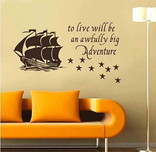 XCSJX Wall Home Decal Cita para vivir Será una aventura tremendamente grande Pegatina de vinilo Barco pirata Estrellas Niños Bebé Niño Guardería Peter Pan