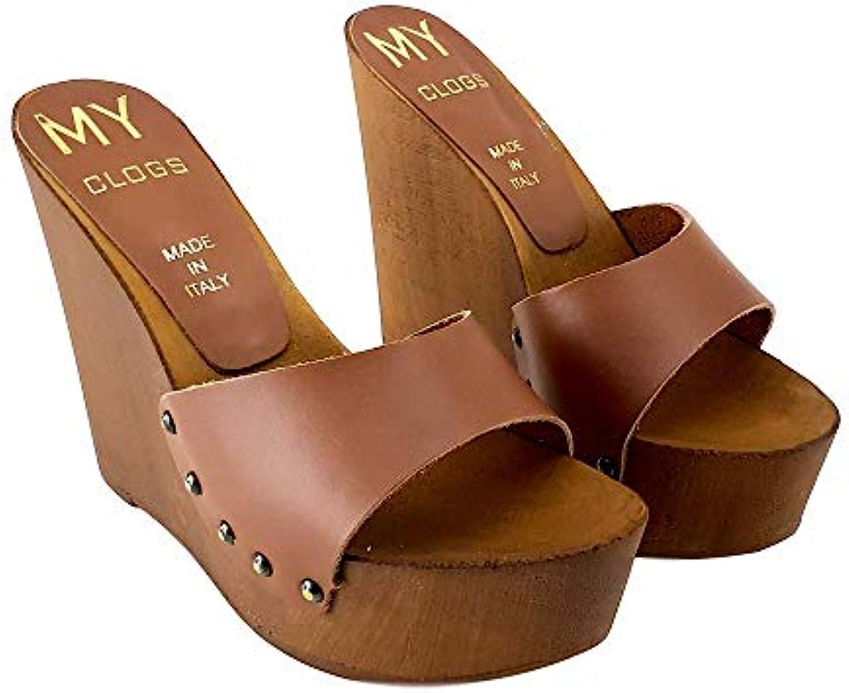 Kiara scarpe Zoccoli A Zeppa in Cuoio Tacco 13- CM-MYZ310 | Lo stile più nuovo  | Uomo/Donne Scarpa