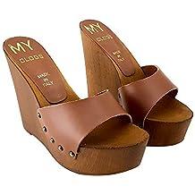 kiara shoes Zoccoli A Zeppa in Cuoio Tacco 13- CM-MYZ310 75204e81d95