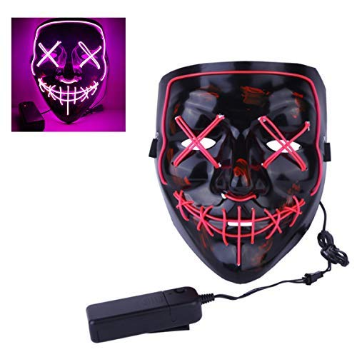 EisEyen Halloween Maske LED Light EL Wire Cosplay Maske Purge Mask für Festival Cosplay Halloween Kostüm(Lila, Gelb, Weiß, Rot, Orange,Blau, ()