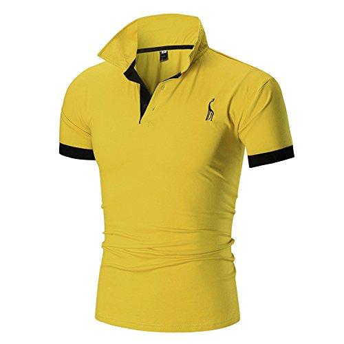 Ycheng uomo ricamo giraffa basic manica corta elegante polo tennis golf maglietta t-shirt (xl, giallo)