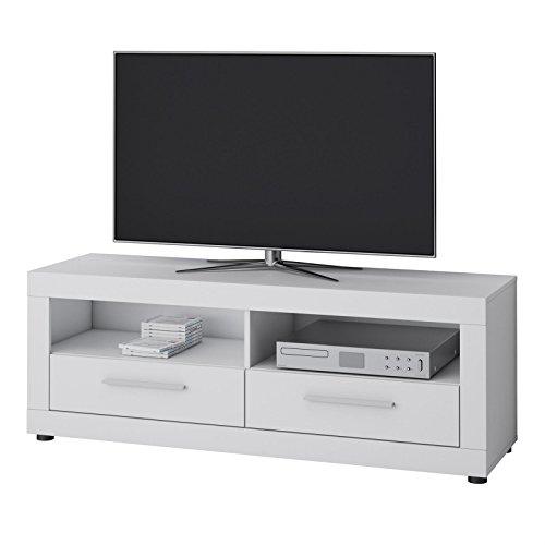 CARO-Möbel TV Lowboard View Fernsehtisch TV Sideboard mit 2 Fächern und 2 Schubladen in Weiß