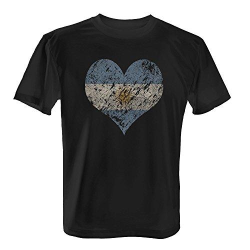 Fashionalarm Herren T-Shirt - I Love Argentina | Fun Shirt Trikot mit Vintage Flagge Print für Fußball & Argentinien Fans | Feuerland Urlaub | WM Schwarz