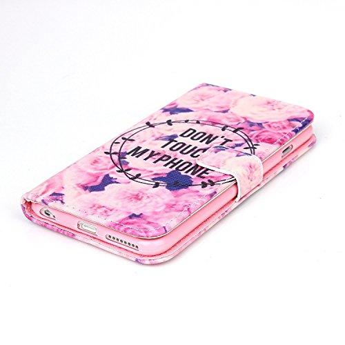 Ooboom® iPhone 5SE Coque PU Cuir Flip Housse Étui Cover Case Wallet Stand avec Carte de Crédit Fentes - Summer Story Don't Touch My Phone