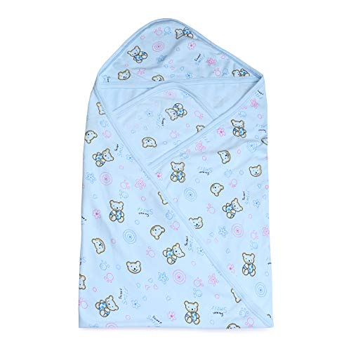 Instabuyz Cotton Swaddle Baby Wrapping Sheet with Hood for Babies