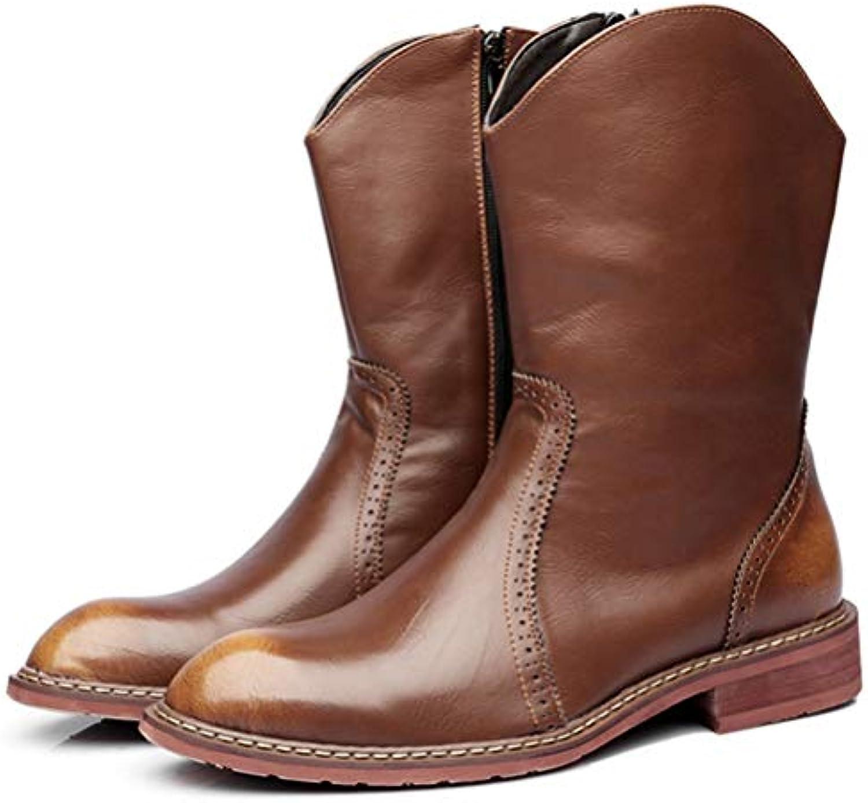 Mens Chelsae stivali Mid-Calf Motorcycle stivali Pointed Toe Leather Riding Equestrian stivali Non-Slip Wear-Resistant... | Prezzo Pazzesco  | Scolaro/Signora Scarpa