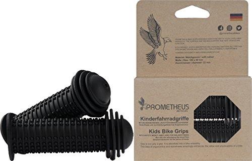 Prometheus Kinderfahrradgriffe 1 Paar in Schwarz | mit Sicherheitsende Auch für Laufrad und Roller | 22 mm Lenker-Griffe | Kindersicherheitsgriffe mit Sicherheitsprallkopf | Edition 2019