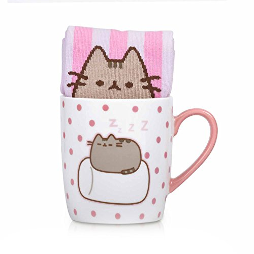 Pusheen Marshmallow tasse et Chaussettes en blanc/rose/capacité 250 ml - thumbs Up! - 1001870