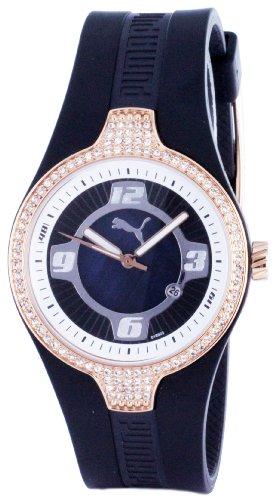 Puma Time Women's Quartz Watch Tune Black Rosegold Stones PU101942004 with Rubber Strap
