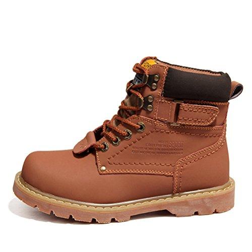 bottes de Martin à lacets homme plat Semelle en caoutchouc bottes de neige d'hiver marron foncé