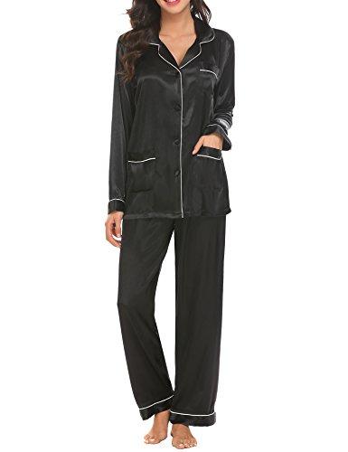 HOTOUCH Femme Ensemble Pyjama en Satin Chemise de Nuit Manches Longues Poche Grande Taille Noir XL