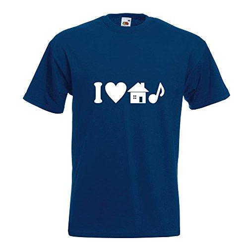 KIWISTAR - I Love House Music T-Shirt in 15 verschiedenen Farben - Herren Funshirt bedruckt Design Sprüche Spruch Motive Oberteil Baumwolle Print Größe S M L XL XXL Navy