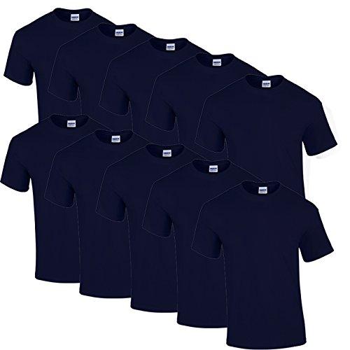 10 Gildan T Shirts Heavy Cotton M L XL XXL Diverse Farben auswählbar (XXL, Navy) -