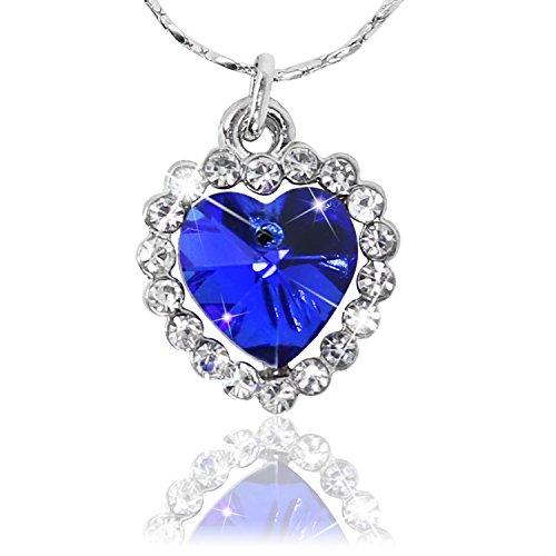 com-four Collier Femme élégant avec Un Coeur Bleu (Coeur -...