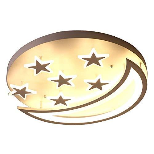 Moderne LED Deckenleuchte Kinder Zimmer Dimmbar Licht Einfache Acryl Deckenlampe Schlafzimmer Deko Kreativ Sterne Mond 50 * H8cm 43W 3 Farben Licht -