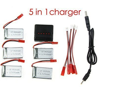 Creation® 5pcs ricambio 3.7V 750mAh batteria + 5 in1 caricatore per RC Quadcopter Drone MJX X300C X400 X500 X800