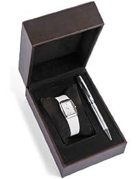 Cross  CR4008 - Reloj de cuarzo para mujer, con correa de cuero, color blanco