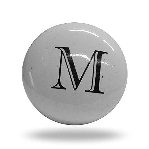 Ceramic Letter M Door Cupboard Cabinet Alphabet Door knob Drawer Pull & Handle