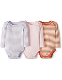 Moon and Back by Hanna Andersson 3 Pack Long Sleeve Bodysuit Unisex bebé