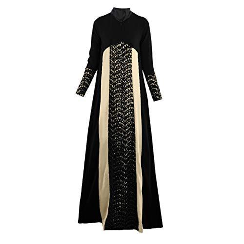 Muslimische Roben Kleider Muslimisches Kleid Islamische Robe Damen Maxikleid Patchwork Lange Kleider Elegante Muslimischen Kaftan Kleid Damen Übergröße Islamische Kleidung Arabische Kleidung (Einfach Billig Halloween-kostüme Lustig)
