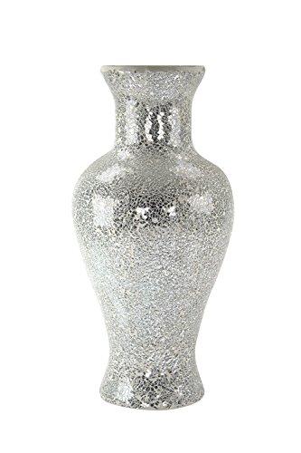 Glas-Vase Mosaik silber/hellgrau 23 x 50cm (Glas-mosaik-boden)