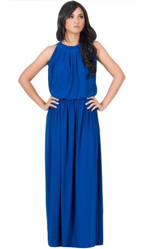 KOH KOH® Plus Size Damen Ärmellos Maxikleid Elegante Cocktailkleid Halter mit Keyhole, Farbe Kobalt / Royalblau, Größe 4XL / 4X Large - Plus Halloween-kostüme Size 4x