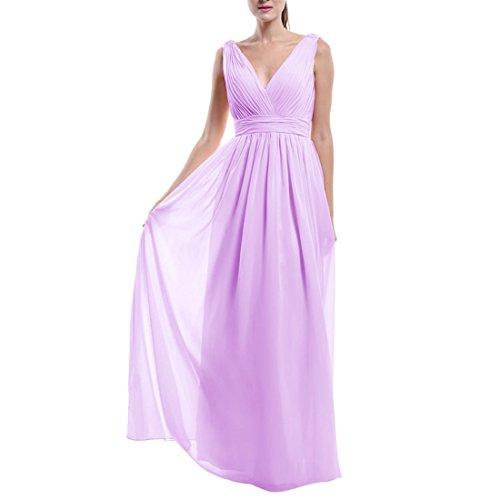 Find Dress Femme Sexy Robe Demoiselle d'Honneur pour Cocktail de Mariage/Fête Col en V Robe Longue Eté en Mousseline Lavande