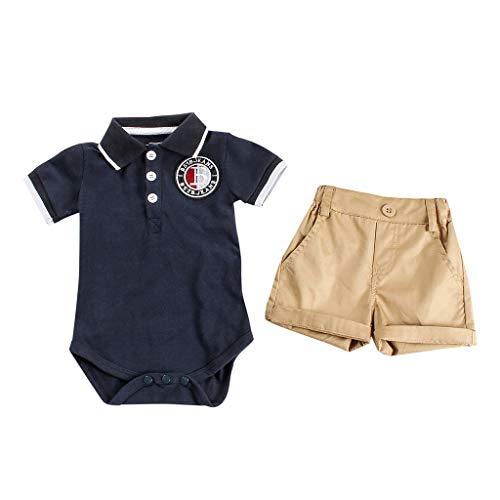FBGood Kleinkind Strampler Top + Gentleman Shorts Sets Säuglingsspielanzug Overalls Neugeborenes Kleidung Baby Sommer Freizeit Kurzarm Spielanzug