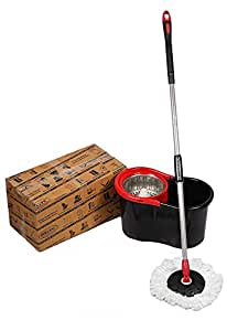 """GTC 360° Spin Steel Mop Rotating Pole & Bucket """"No Foot Pedal"""" With 2 Microfiber Heads (Random Color)"""