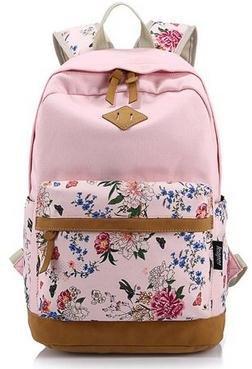 Imagen de icase4u® multi función moda  bolsa escolar tipo casual bonita de lona de viaje  de marcha para picnic para mujer o chica buena calidad flores rosa1  alternativa