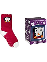 One Pair of Ladies Christmas Animal Socks With Slip Resistant Sole In Gift Box