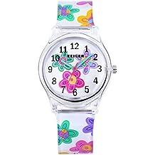 Calendario de niños reloj de cuarzo reloj analógico pulsera para niños reloj de niña de flores