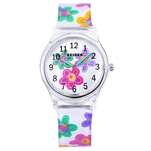 Bambini orario ragazza orologio al quarzo analogico orologio bracciale per bambini multicolore fiore ragazza orologio kw098-flower