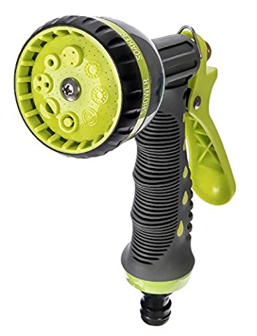 LifeWell 8-Pattern Heavy Duty Hose Head. Garden Hose Nozzle - Hand Sprayer. LifeTime Warranty