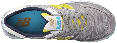 New Balance Women's WL574 Summer Waves Running Shoe, Silver Mink/Limeade, 12 B US Silver Mink/Limeade