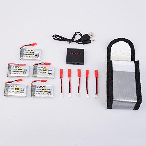 Lommer 5pcs 1000mah Lipo Batterie mit 5 in 1 Ladegerät und Sicherheit Explosionsgeschützte Tasche für MJX Hubschrauber T04 / T05 / T25 / M03 / F28 / F29 - 9
