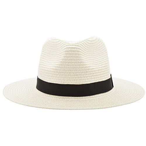 SUNNYTYM Sonnenhut Vintage Panama Hut Männer Stroh Fedora Männlich Sonnenhut Frauen Sommer Strand Sonnenblende Cap Cool Jazz Trilby Cap Sombrero - Sombrero Panama