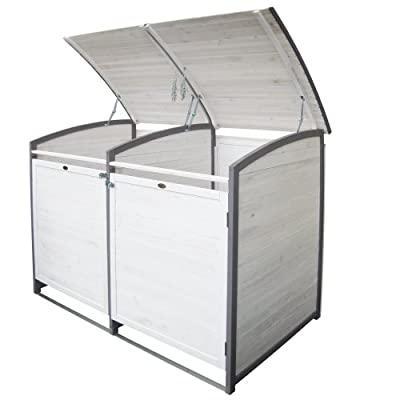 Habau Mülltonnenverkleidung Mülltonnenbox 120 Liter Doppel Weiß, 122 x 76 x 116 cm von Habau bei Du und dein Garten