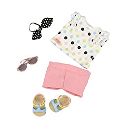Our Generation BD30239 Polka Dot Top & Shorts Outfit