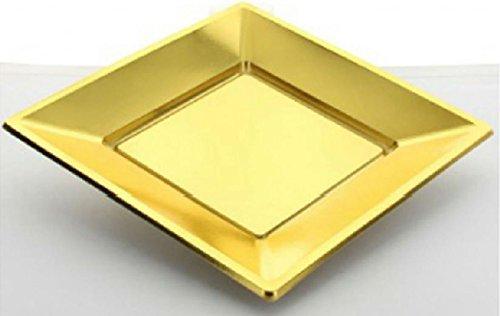 Fetez moi - 8 petites assiettes carrées or jetables en PVC souple 17 cm