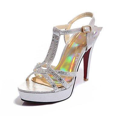 LvYuan Da donna-Sandali-Matrimonio Formale Serata e festa-Club Shoes-A stiletto-Sintetico PU (Poliuretano)-Nero Argento Dorato Gold