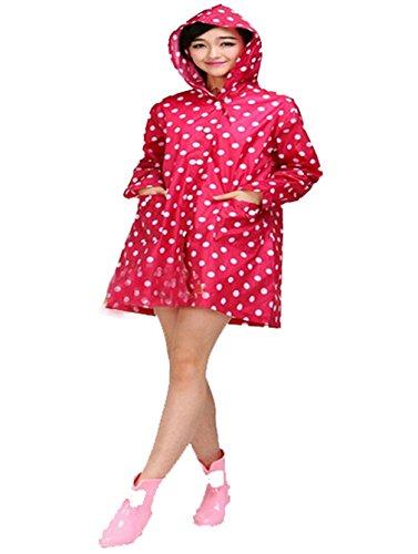 hundeinfo24.de Frauen Regenschutz Regenjacke Wasserdichte Regen Poncho Camping Outdoor Regenmantel (rosa)