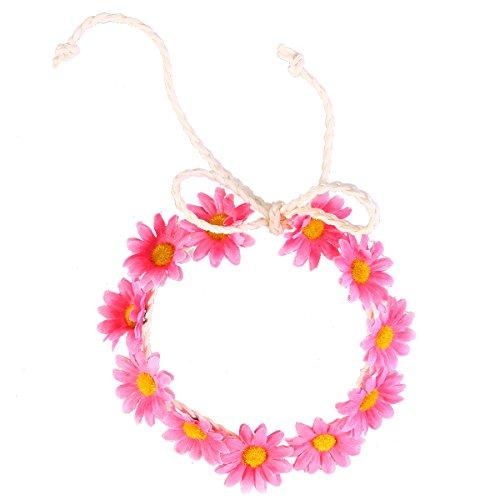 FRCOLOR Sonnenblume Krone Daisy Blume Stirnband Haar Kranz Braut Kopfschmuck Festivals Haarband (Pink)