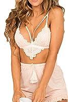 YACUN Women's Strappy Lingerie Lace Bra Knickers Underwear Suits White XS