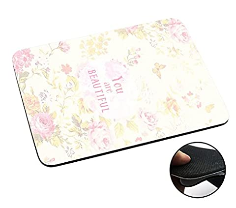 002425 - Floral Vintage Shabby Chic Cute Roses Fleur Quote You Are Beautiful Design Macbook PC Laptop Anti-slip Mousepad Mouse Mat Tpu Leather-Slim