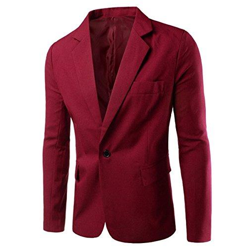 Lanmworn Herren Eine Taste Anzug 7 Farben Slim Fit Kerbe Revers Notched Lapel Klassisch Casual Suit Jacke Blazer M ~ 3XL (Blazer Kerbe-kragen)