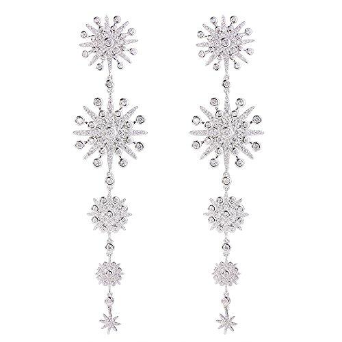 Flyonce Damen Cubic Zirconia Gorgeous Schneeflocke Chandelier lang Dangle Ohrringe klar Silber-Ton
