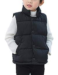 Niños Niñas Sin Mangas Abrigo Chaquetas Otoño Invierno Collar del Soporte Caliente Chaleco